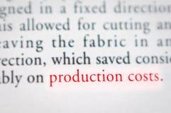 Concetto di costi di produzione immagine stock libera da diritti