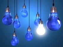 Concetto di creatività con la lampadina Immagini Stock