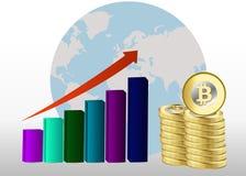 Concetto di crescita di Bitcoin Illustrazione del reddito di Bitcoin Pile di grafico delle monete di oro con bitcoin Fotografie Stock