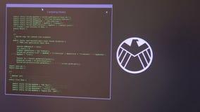 Concetto di crimine di Internet Pirata informatico che lavora ad un codice Nodi di compilazione archivi video