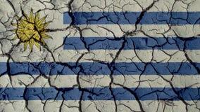 Concetto di crisi: Crepe del fango con la bandiera dell'Uruguay fotografia stock libera da diritti