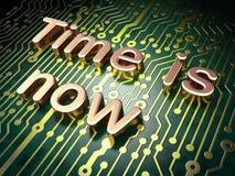 Concetto di cronologia: Il tempo è ora sul circuito Fotografie Stock Libere da Diritti