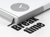 Concetto di cronologia: orologio del libro, tempo della rottura su bianco Fotografia Stock