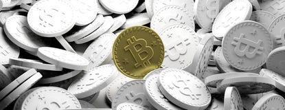 Concetto di Cryptocurrency Bitcoin dorato sul fondo bianco dei bitcoins illustrazione 3D Fotografia Stock Libera da Diritti