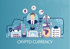 Concetto di Cryptocurrency come illustrazione di vettore di affari Fotografia Stock