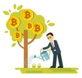 Concetto di Cryptocurrency con l'albero dei soldi e dell'uomo d'affari illustrazione di stock