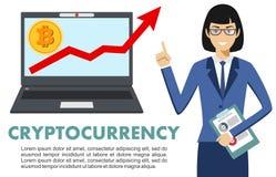Concetto di Cryptocurrency Donna di affari con il calcolatore Sul grafico Immagini Stock Libere da Diritti