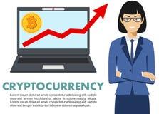 Concetto di Cryptocurrency Donna di affari con il calcolatore Sul grafico con bitcoin firmi dentro la progettazione piana dell'ic Fotografia Stock