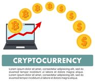 Concetto di Cryptocurrency Estrazione mineraria di Bitcoin, scambio, attività bancarie mobili Soldi elettronici di valuta di Digi Fotografie Stock