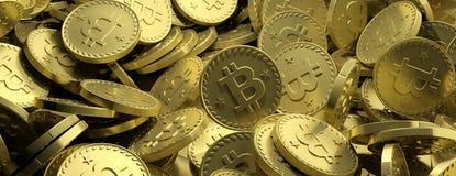 Concetto di Cryptocurrency Fondo di Bitcoins, insegna illustrazione 3D Fotografia Stock Libera da Diritti