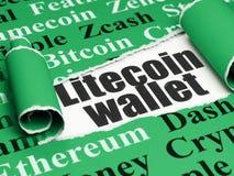Concetto di Cryptocurrency: portafoglio nero di Litecoin del testo nell'ambito del pezzo di carta lacerata Fotografie Stock Libere da Diritti