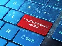 Concetto di Cryptocurrency: Portafoglio di Cryptocurrency sul fondo della tastiera di computer Fotografie Stock Libere da Diritti
