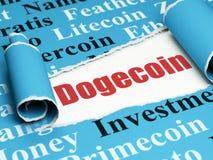 Concetto di Cryptocurrency: testo rosso Dogecoin nell'ambito del pezzo di carta lacerata Fotografie Stock