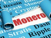 Concetto di Cryptocurrency: testo rosso Monero nell'ambito del pezzo di carta lacerata Immagine Stock