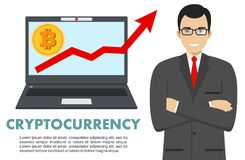 Concetto di Cryptocurrency Uomo d'affari con il computer Sul grafico con bitcoin firmi dentro la progettazione piana dell'icona i Immagine Stock