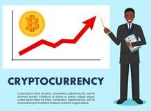 Concetto di Cryptocurrency Uomo d'affari e grafico con la linea di tendenza che aumenta su e moneta con un segno di bitcoin nello Fotografia Stock