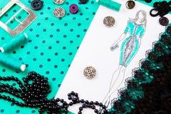 Concetto di cucito dressmaker fotografia stock libera da diritti