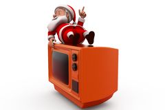 concetto di 3d il Babbo Natale TV Immagini Stock Libere da Diritti