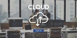 Concetto di dati di tecnologia di stoccaggio della rete informatica della nuvola immagini stock libere da diritti