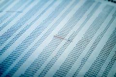 Concetto di dati finanziari con i numeri Fotografia Stock