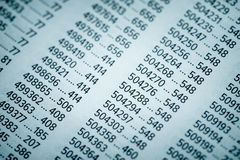 Concetto di dati finanziari con i numeri Fotografia Stock Libera da Diritti