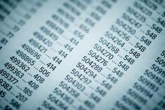 Concetto di dati finanziari con i numeri Fotografie Stock