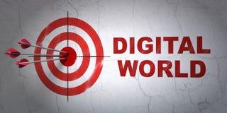 Concetto di dati: obiettivo e mondo di Digital sul fondo della parete Fotografia Stock