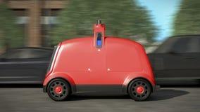 Concetto di delivery system automatico Automobile rossa rappresentazione 3d illustrazione di stock