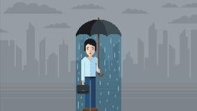 Concetto di depressione - illustrazione di vettore di stile del video gioco di arte del pixel Fotografie Stock Libere da Diritti