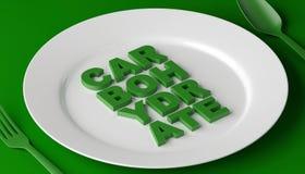 Concetto di dieta equilibrata - i carburatori e la proteina dei grassi sul piatto bianco colorano il fondo - illustrazione 3d illustrazione vettoriale