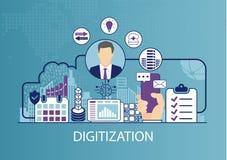 Concetto di digitalizzazione come illustrazione di vettore di affari Fotografia Stock