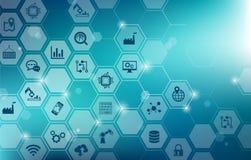 Concetto di digitalizzazione: impresa IoT, fabbrica astuta, industria 4 0 - illustrazione vettoriale