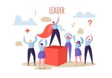 Concetto di direzione di affari Capo Leading Group del responsabile della gente piana dei caratteri al successo Motivazione di af illustrazione vettoriale
