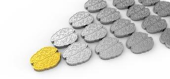 Concetto di direzione con il cervello dell'oro 3d e dell'argento Fotografie Stock Libere da Diritti
