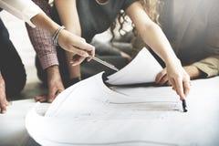 Concetto di discussione di Design Project Meeting dell'architetto immagini stock libere da diritti