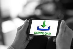 Concetto di download su uno smartphone Fotografia Stock