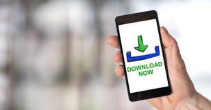 Concetto di download su uno smartphone fotografie stock libere da diritti