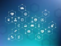 """Concetto di e-salute di sanità di vettore del †elettronico dell'illustrazione """"con le icone bianche collegate su fondo blu Illustrazione Vettoriale"""