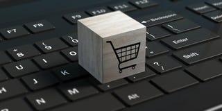 Concetto di e-shopping Carrello su un cubo su un computer portatile nero illustrazione 3D Fotografia Stock Libera da Diritti