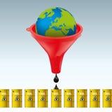Concetto di eccessivo sfruttamento delle riserve di petrolio dei planet's per gli interessi finanziari royalty illustrazione gratis