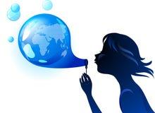 Concetto di eco della bolla della terra Fotografie Stock