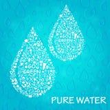 Concetto di Eco di due gocce di acqua Fotografia Stock Libera da Diritti
