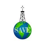 Concetto di Eco, torre di olio su terra Fotografia Stock