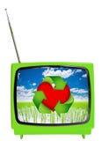 Concetto di Eco TV Televisione d'annata isolata fotografia stock