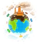 Concetto di ecologia con il ecocatastrophe sporco del pianeta Fotografie Stock Libere da Diritti