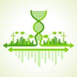 Concetto di ecologia con il filo del DNA Fotografia Stock
