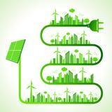 Concetto di ecologia con il pannello solare - natura di risparmi Fotografie Stock