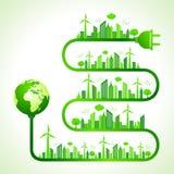 Concetto di ecologia con la natura di risparmi dell'icona della terra royalty illustrazione gratis