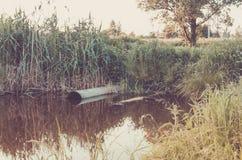 Concetto di ecologia: l'acqua che zampilla dalla fogna al lago/tubo per fognatura versa fuori al lago immagine stock