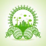 Concetto di ecologia - paesaggio urbano di eco con progettazione di Paisley Fotografia Stock